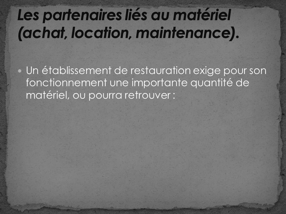Un établissement de restauration exige pour son fonctionnement une importante quantité de matériel, ou pourra retrouver :