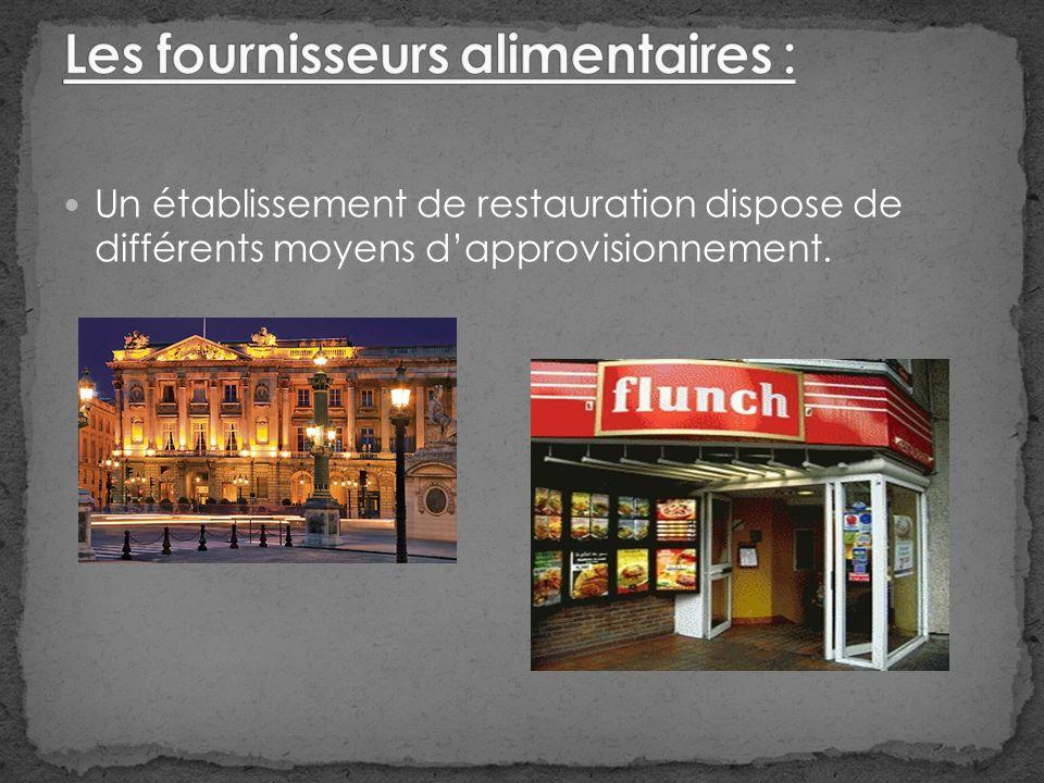 Un établissement de restauration dispose de différents moyens dapprovisionnement.