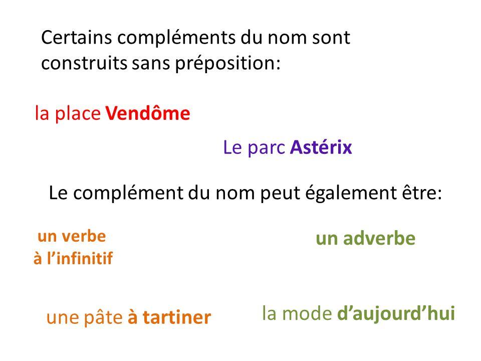 Certains compléments du nom sont construits sans préposition: la place Vendôme Le parc Astérix Le complément du nom peut également être: un verbe à linfinitif une pâte à tartiner un adverbe la mode daujourdhui