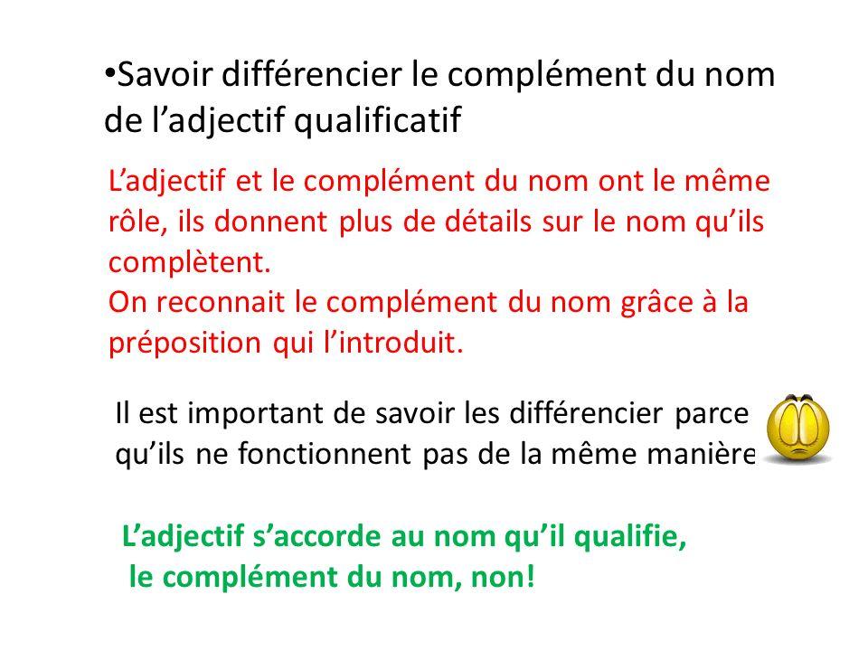Savoir différencier le complément du nom de ladjectif qualificatif Ladjectif et le complément du nom ont le même rôle, ils donnent plus de détails sur