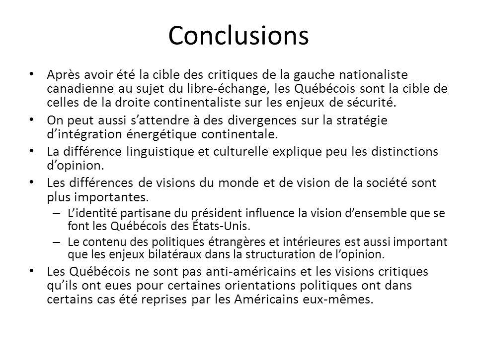 Conclusions Après avoir été la cible des critiques de la gauche nationaliste canadienne au sujet du libre-échange, les Québécois sont la cible de celles de la droite continentaliste sur les enjeux de sécurité.