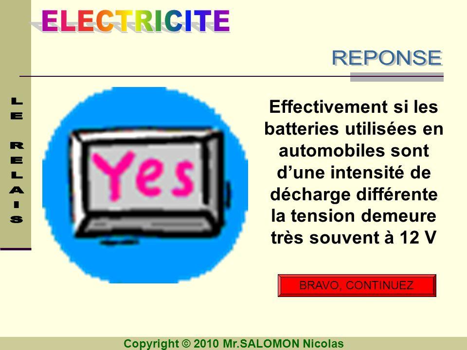 Copyright © 2010 Mr.SALOMON Nicolas BRAVO, CONTINUEZ Effectivement si les batteries utilisées en automobiles sont dune intensité de décharge différent