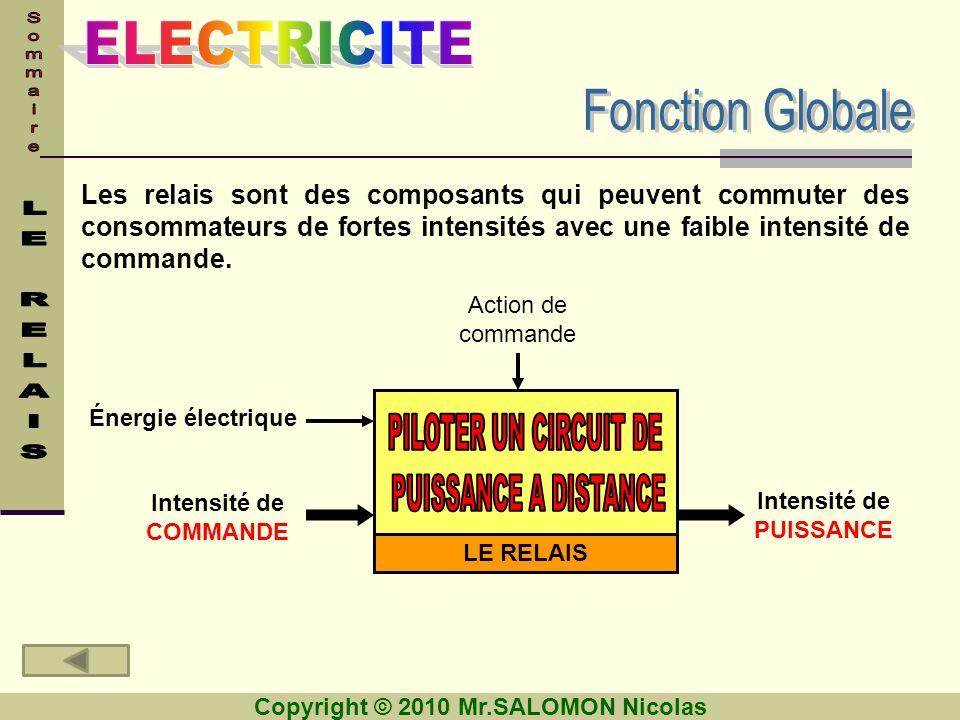 Copyright © 2010 Mr.SALOMON Nicolas Cliquer ici Étage de puissance Étage de commande Le relais est partagé en deux parties : RAPPEL: Les relais peuvent commuter de fortes intensités avec une faible intensité de commande.
