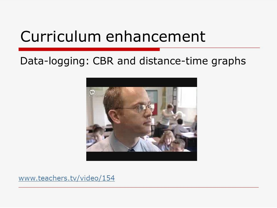 Curriculum enhancement Data-logging: CBR and distance-time graphs www.teachers.tv/video/154
