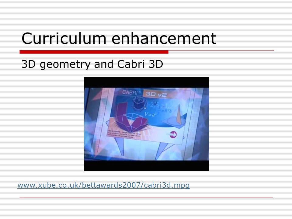 Curriculum enhancement 3D geometry and Cabri 3D www.xube.co.uk/bettawards2007/cabri3d.mpg