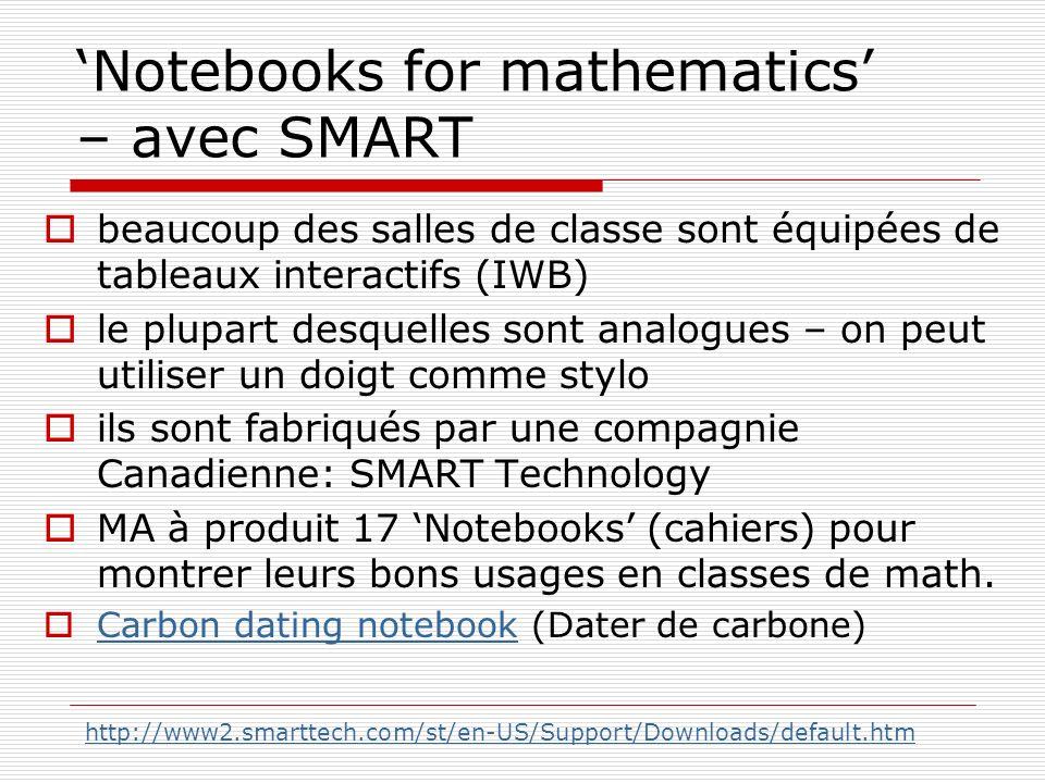 Notebooks for mathematics – avec SMART beaucoup des salles de classe sont équipées de tableaux interactifs (IWB) le plupart desquelles sont analogues