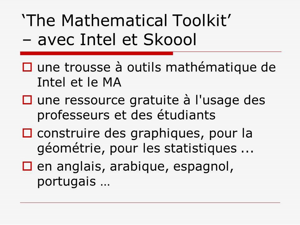 The Mathematical Toolkit – avec Intel et Skoool une trousse à outils mathématique de Intel et le MA une ressource gratuite à l'usage des professeurs e