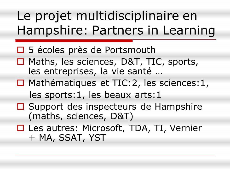 Le projet multidisciplinaire en Hampshire: Partners in Learning 5 écoles près de Portsmouth Maths, les sciences, D&T, TIC, sports, les entreprises, la