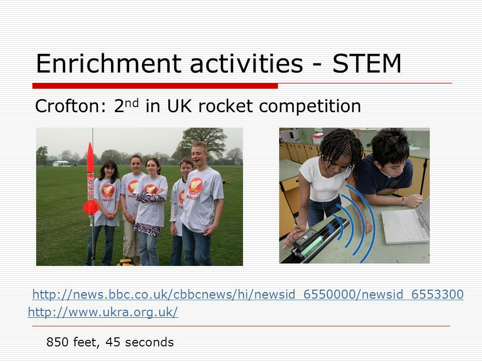 Enrichment activities - STEM Crofton: 2 nd in UK rocket competition http://news.bbc.co.uk/cbbcnews/hi/newsid_6550000/newsid_6553300 http://www.ukra.org.uk/ 850 feet, 45 seconds