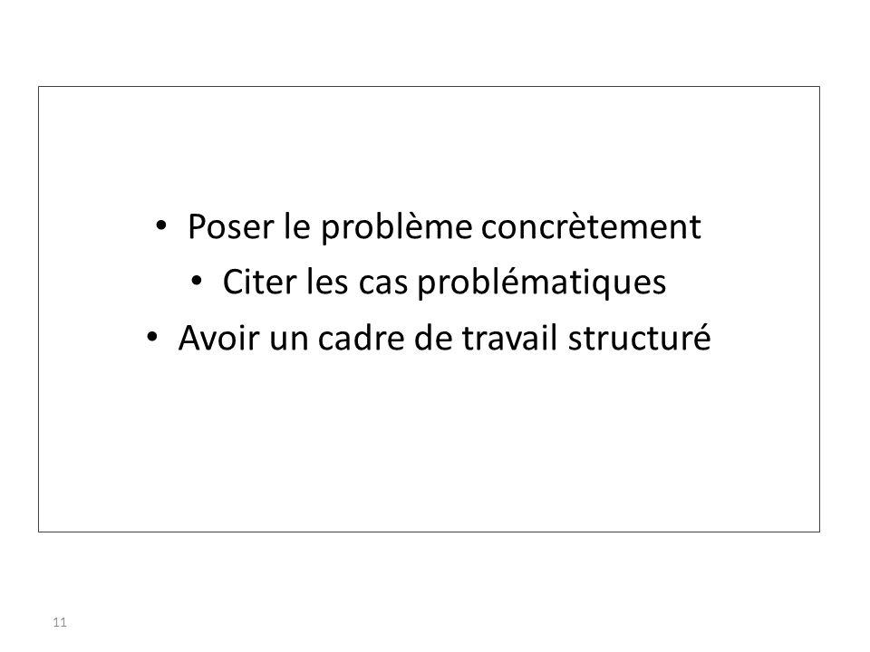 Poser le problème concrètement Citer les cas problématiques Avoir un cadre de travail structuré 11