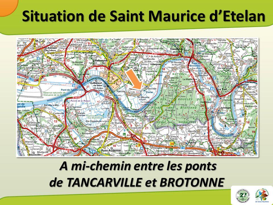 Situation de Saint Maurice dEtelan Sur la rive nord de Sur la rive nord de la vallée de la Seine.