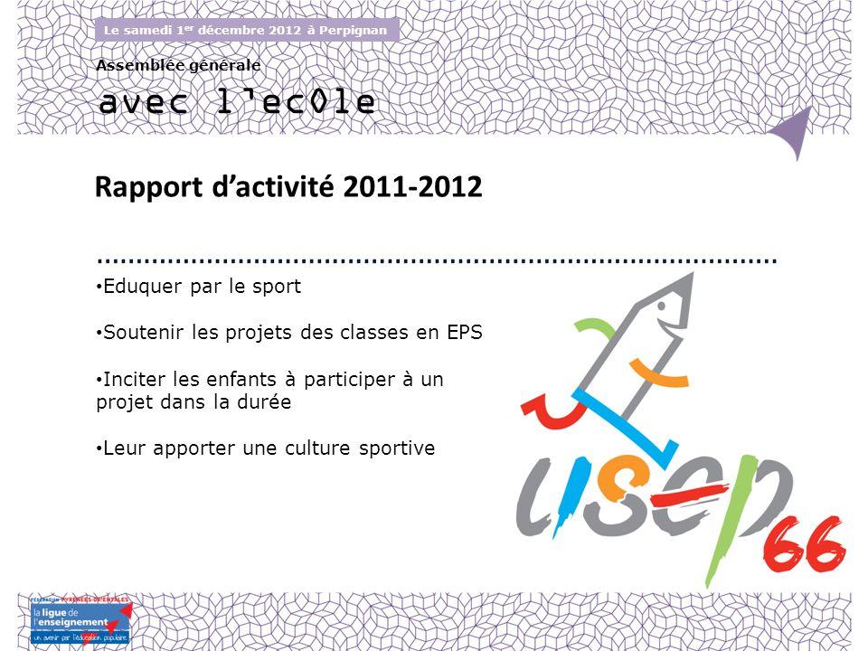 Avec lecOle Le samedi 1 er décembre 2012 à Perpignan Assemblée générale Rapport dactivité 2011-2012 Eduquer par le sport Soutenir les projets des clas