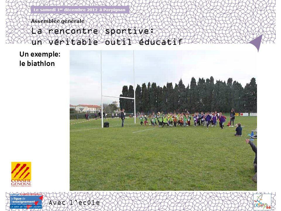 Avec lecOle Le samedi 1 er décembre 2012 à Perpignan Assemblée générale Un exemple: le biathlon La rencontre sportive: un véritable outil éducatif