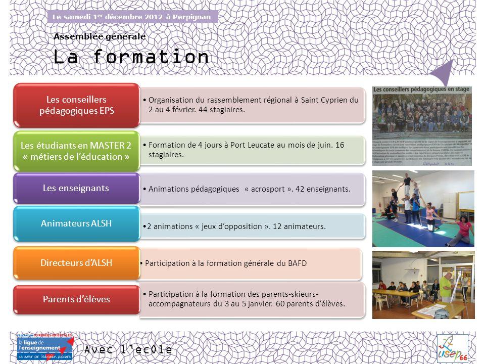 Avec lecOle Le samedi 1 er décembre 2012 à Perpignan Assemblée générale La formation Organisation du rassemblement régional à Saint Cyprien du 2 au 4