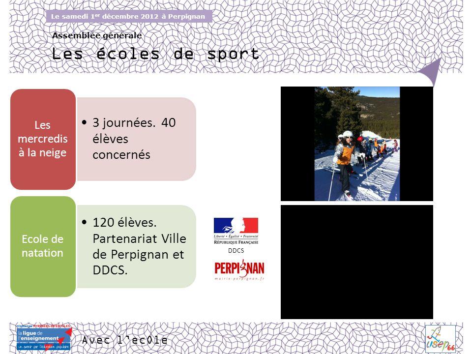 Avec lecOle Le samedi 1 er décembre 2012 à Perpignan Assemblée générale Les écoles de sport 3 journées. 40 élèves concernés Les mercredis à la neige 1