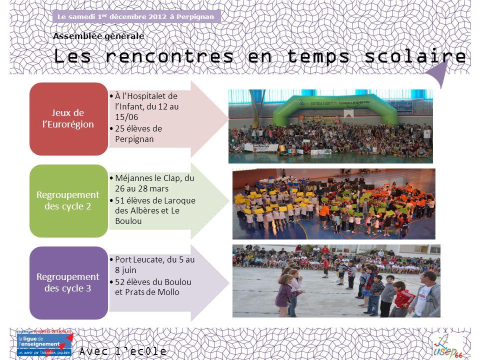 Avec lecOle Le samedi 1 er décembre 2012 à Perpignan Assemblée générale Les rencontres en temps scolaire À lHospitalet de lInfant, du 12 au 15/06 25 é