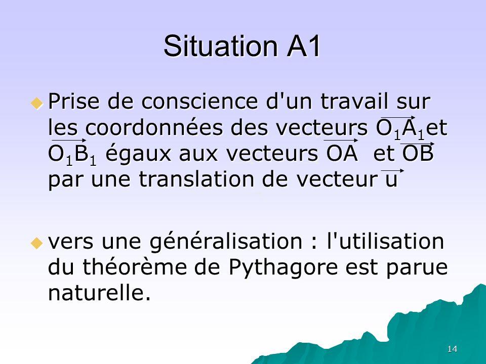 14 Situation A1 Prise de conscience d'un travail sur les coordonnées des vecteurs O 1 A 1 et O 1 B 1 égaux aux vecteurs OA et OB par une translation d