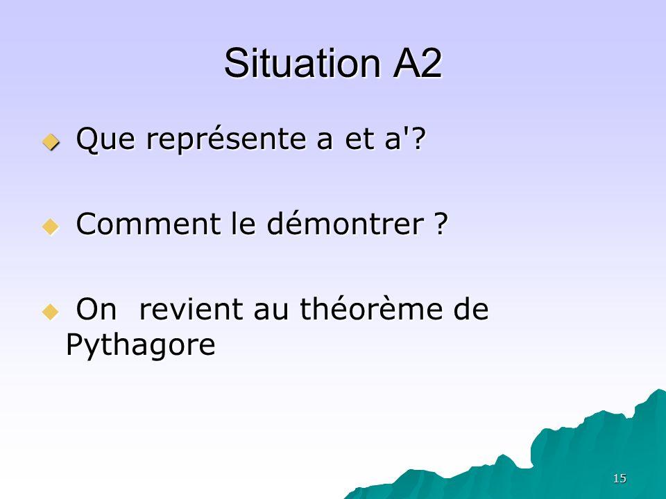 15 Situation A2 Que représente a et a'? Que représente a et a'? Comment le démontrer ? Comment le démontrer ? On revient au théorème de Pythagore On r