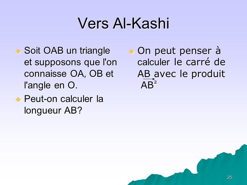 25 Vers Al-Kashi Soit OAB un triangle et supposons que l'on connaisse OA, OB et l'angle en O. Soit OAB un triangle et supposons que l'on connaisse OA,