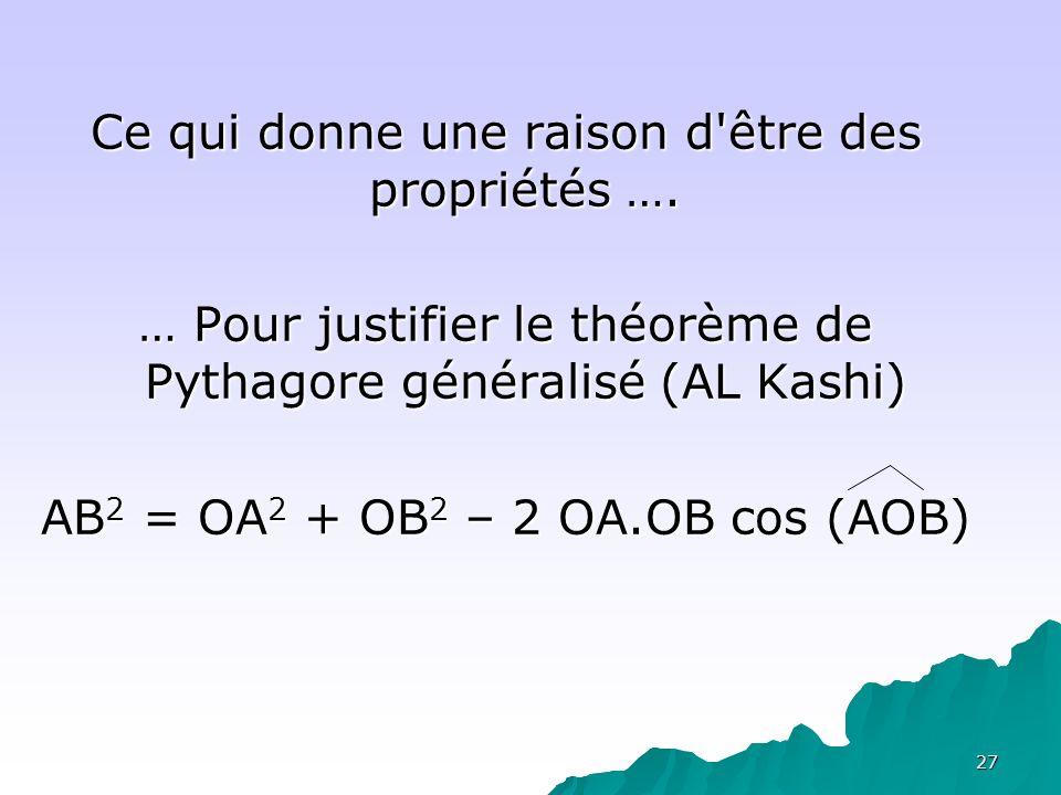 27 Ce qui donne une raison d'être des propriétés …. … Pour justifier le théorème de Pythagore généralisé (AL Kashi) AB 2 = OA 2 + OB 2 – 2 OA.OB cos (