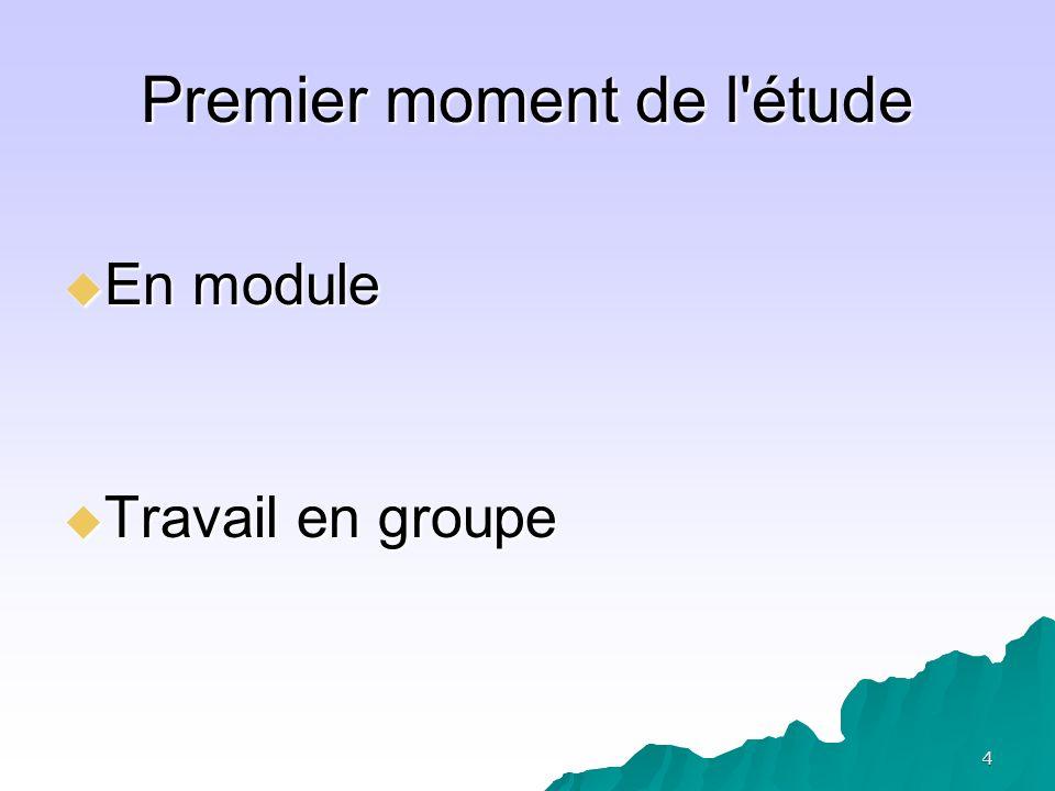 4 Premier moment de l'étude En module En module Travail en groupe Travail en groupe