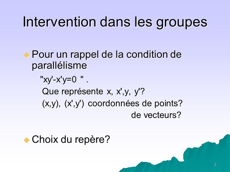 8 Situation A1 repère orthonormé Points A(1,1) et B(-1,1), 1 x ( -1) + 1 x 1 = 0
