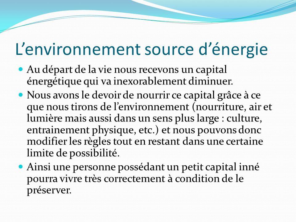 Lenvironnement source dénergie Au départ de la vie nous recevons un capital énergétique qui va inexorablement diminuer. Nous avons le devoir de nourri