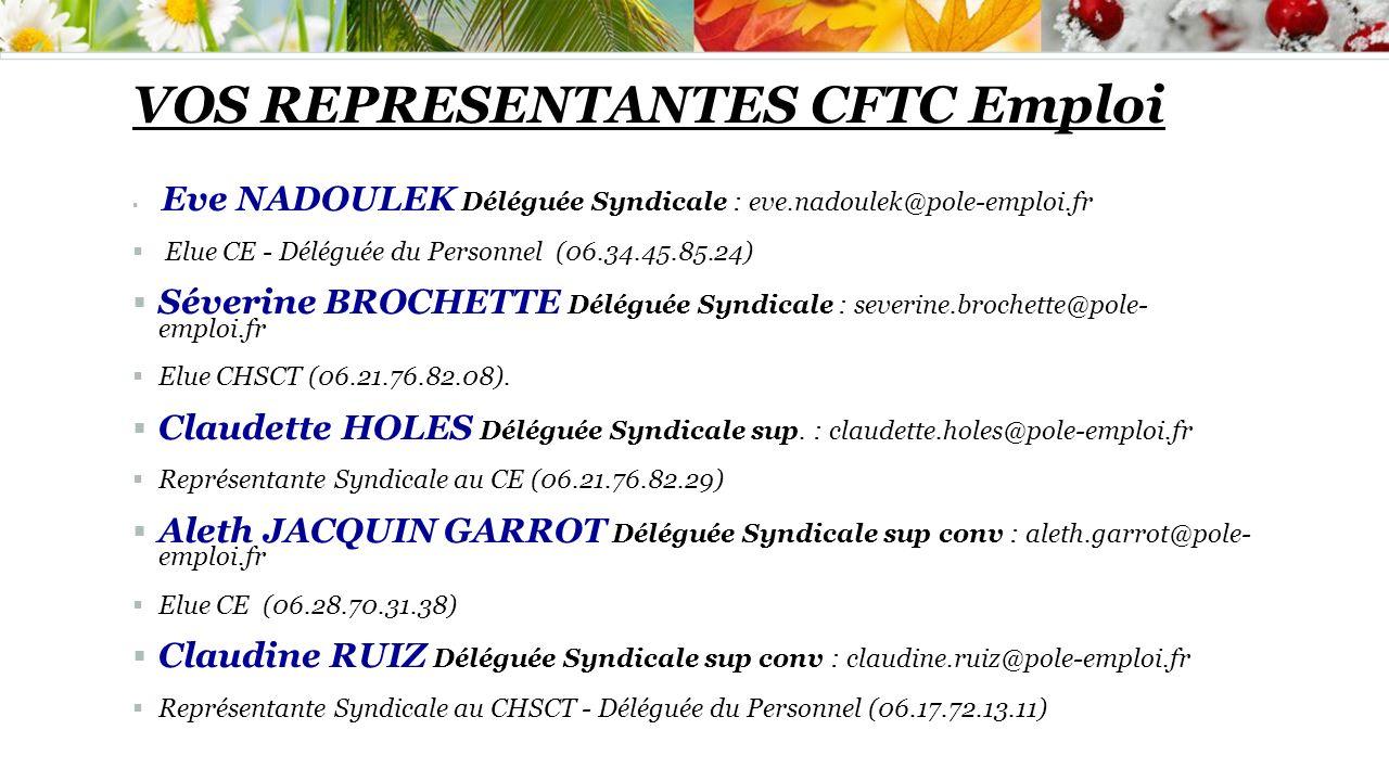 VOS REPRESENTANTES CFTC Emploi Eve NADOULEK Déléguée Syndicale : eve.nadoulek@pole-emploi.fr Elue CE - Déléguée du Personnel (06.34.45.85.24) Séverine