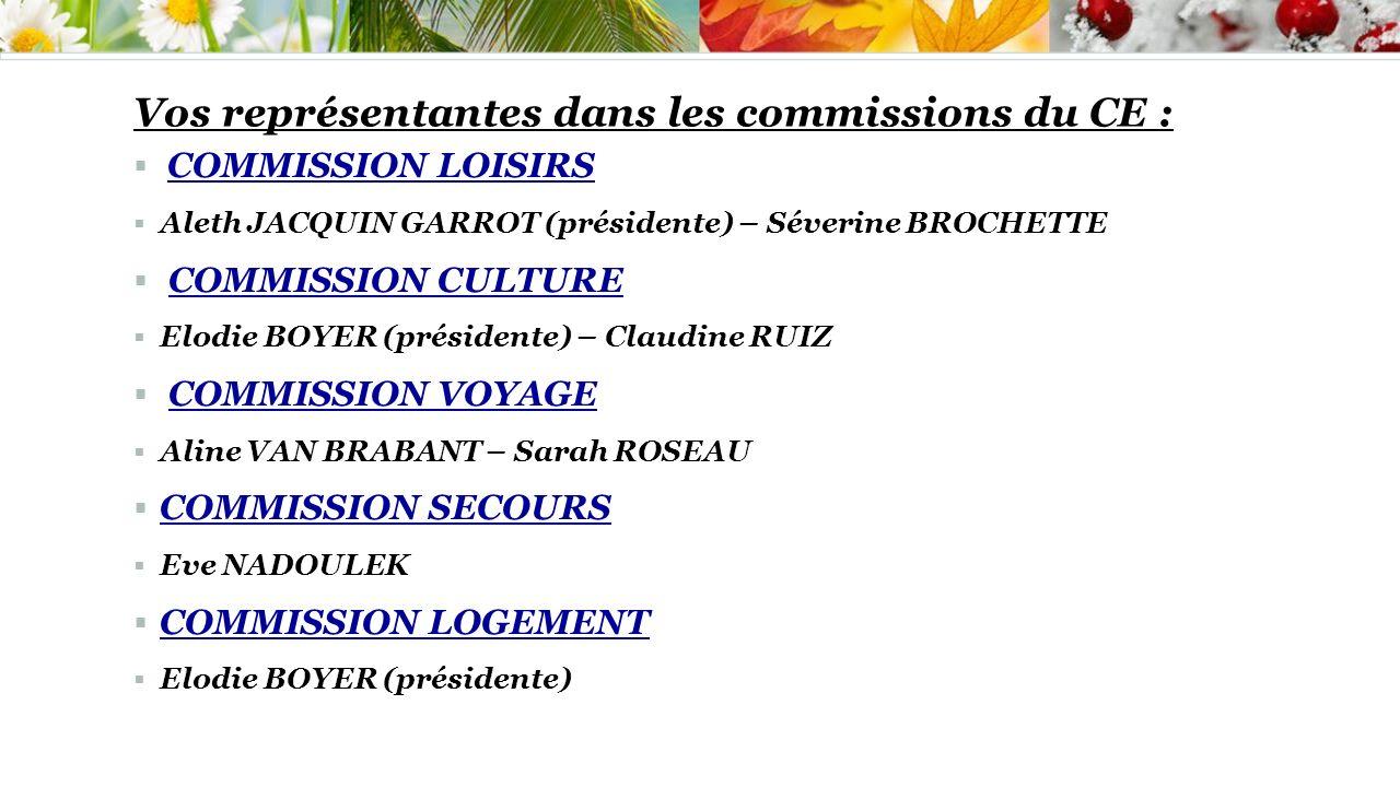 Vos représentantes dans les commissions du CE : COMMISSION LOISIRS Aleth JACQUIN GARROT (présidente) – Séverine BROCHETTE COMMISSION CULTURE Elodie BO