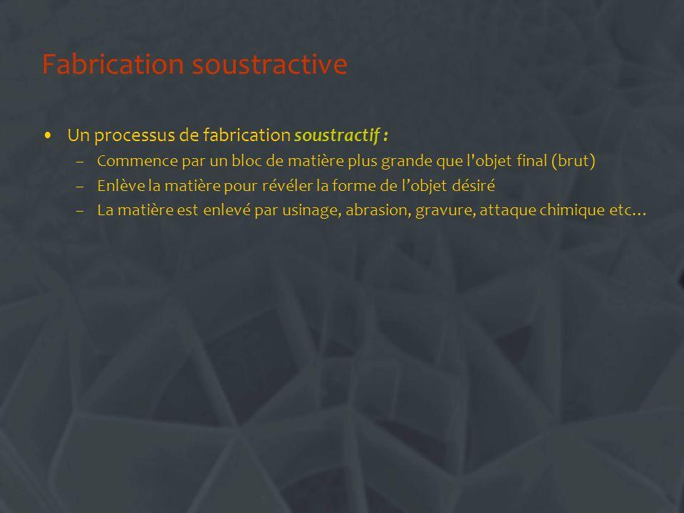 Fabrication soustractive Un processus de fabrication soustractif : –Commence par un bloc de matière plus grande que l'objet final (brut) –Enlève la ma