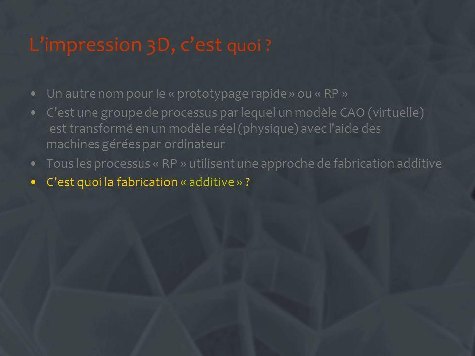 Fabrication additive Un processus de fabrication additif: