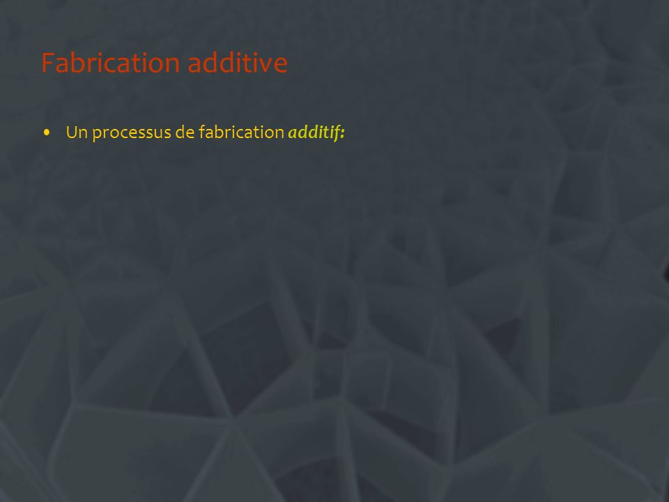 Fabrication additive Un processus de fabrication additif: –Commence avec rien…