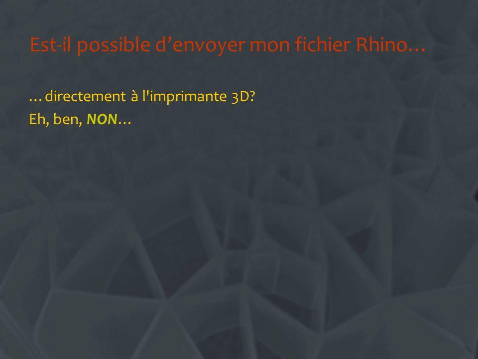 Est-il possible denvoyer mon fichier Rhino… …directement à l'imprimante 3D? Eh, ben, NON…