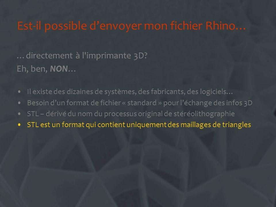 Est-il possible denvoyer mon fichier Rhino… …directement à l'imprimante 3D? Eh, ben, NON… Il existe des dizaines de systèmes, des fabricants, des logi