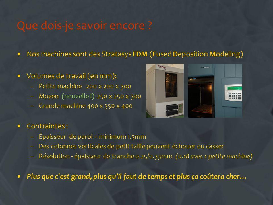Que dois-je savoir encore ? Nos machines sont des Stratasys FDM (Fused Deposition Modeling) Volumes de travail (en mm): –Petite machine 200 x 200 x 30