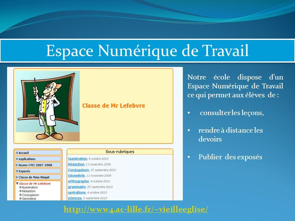Espace Numérique de Travail Notre école dispose dun Espace Numérique de Travail ce qui permet aux élèves de : consulter les leçons, rendre à distance les devoirs Publier des exposés http://www4.ac-lille.fr/~vieilleeglise/