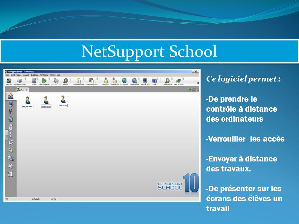 NetSupport School Ce logiciel permet : -De prendre le contrôle à distance des ordinateurs -Verrouiller les accès -Envoyer à distance des travaux.