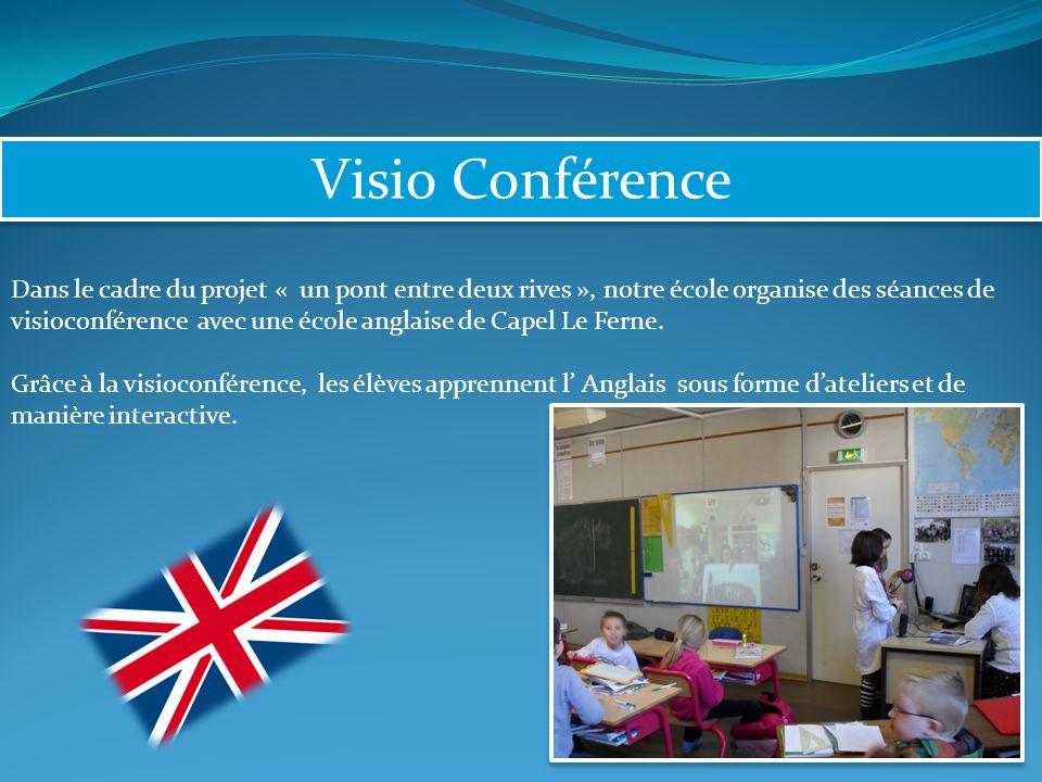 Visio Conférence Dans le cadre du projet « un pont entre deux rives », notre école organise des séances de visioconférence avec une école anglaise de Capel Le Ferne.