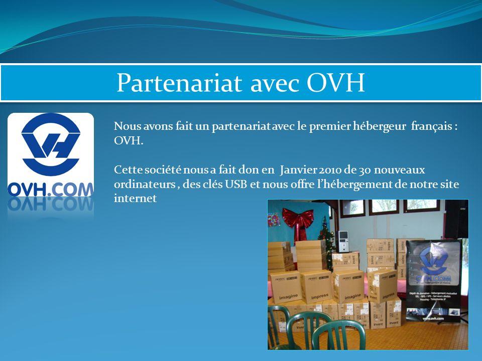 Partenariat avec OVH Nous avons fait un partenariat avec le premier hébergeur français : OVH.