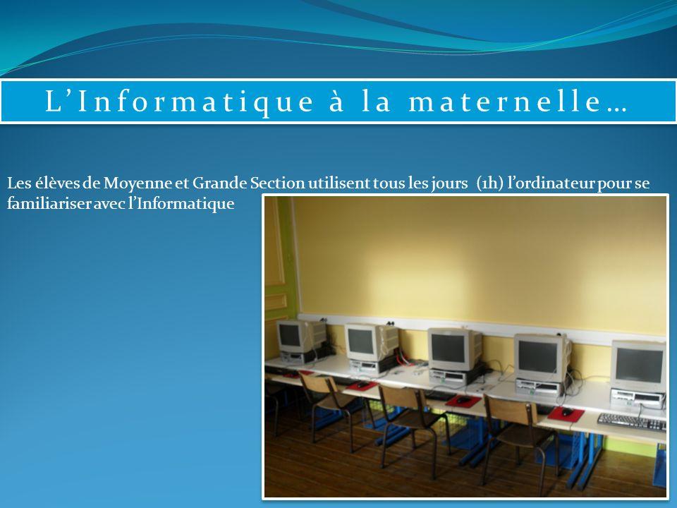 LInformatique à la maternelle… Les élèves de Moyenne et Grande Section utilisent tous les jours (1h) lordinateur pour se familiariser avec lInformatique