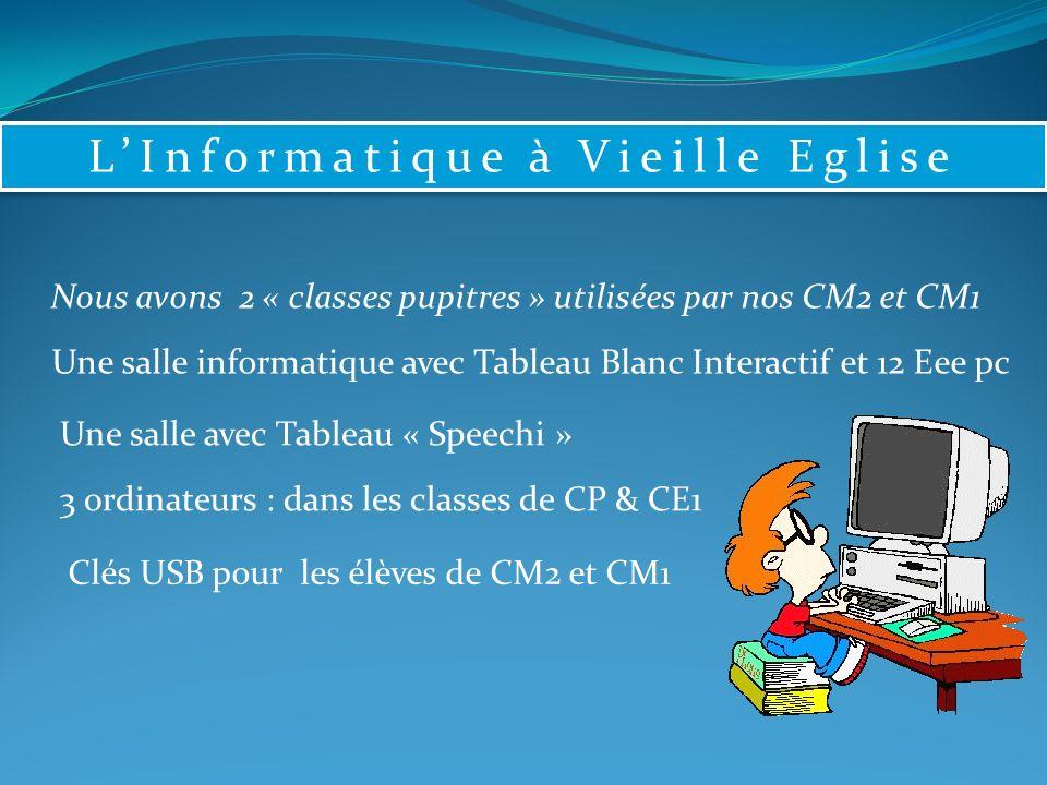 LInformatique à Vieille Eglise Nous avons 2 « classes pupitres » utilisées par nos CM2 et CM1 Une salle informatique avec Tableau Blanc Interactif et 12 Eee pc Une salle avec Tableau « Speechi » 3 ordinateurs : dans les classes de CP & CE1 Clés USB pour les élèves de CM2 et CM1