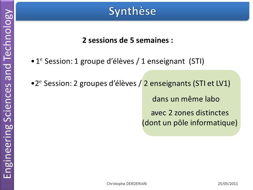 Engineering Sciences and Technology 2 e Session: 2 groupes délèves / 2 enseignants (STI et LV1) 2 sessions de 5 semaines : dans un même labo 1 e Sessi