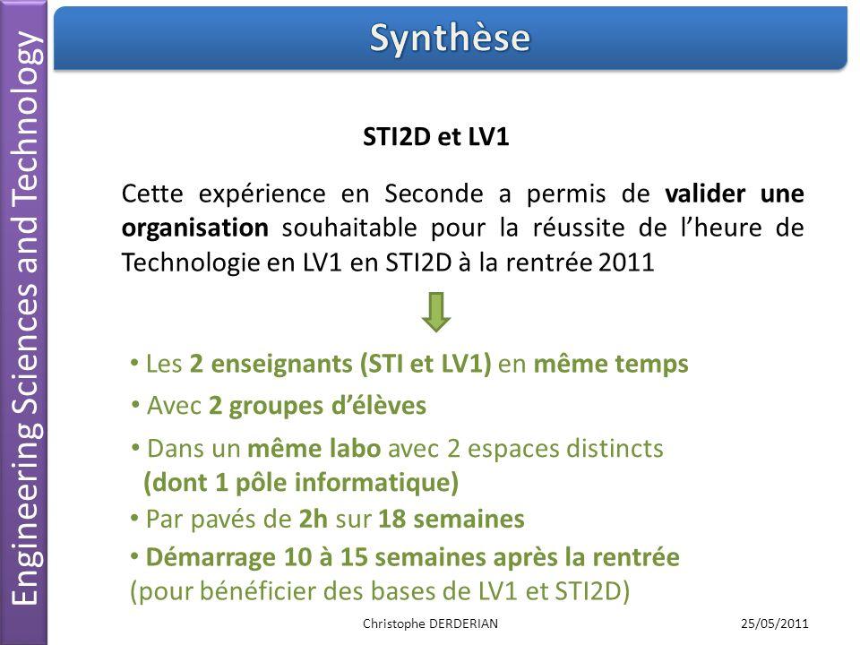Engineering Sciences and Technology STI2D et LV1 Cette expérience en Seconde a permis de valider une organisation souhaitable pour la réussite de lheu