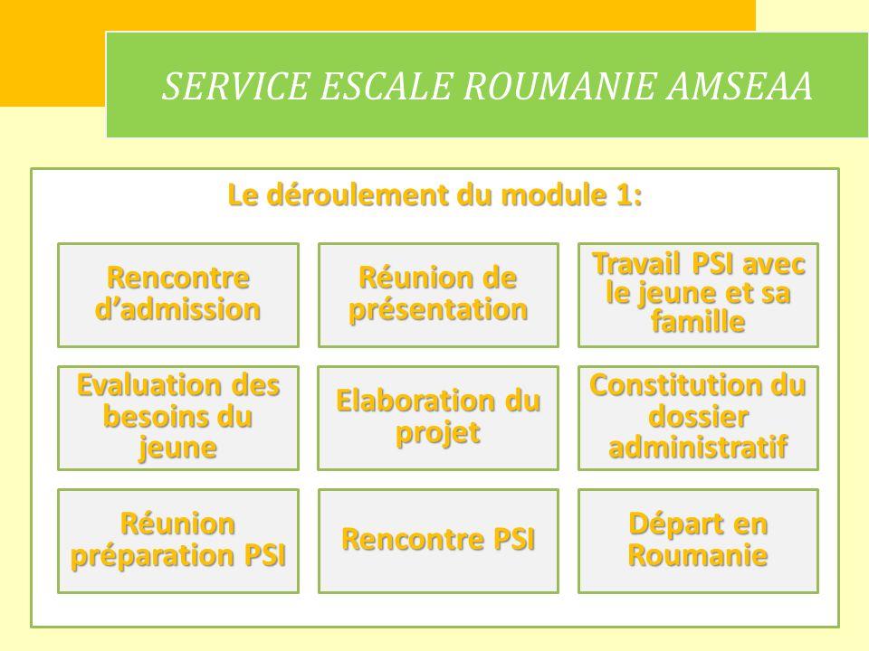 Le déroulement du module 1: SERVICE ESCALE ROUMANIE AMSEAA Rencontre dadmission Réunion de présentation Constitution du dossier administratif Départ e