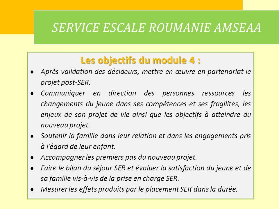 SERVICE ESCALE ROUMANIE AMSEAA Les objectifs du module 4 : Après validation des décideurs, mettre en œuvre en partenariat le projet post-SER. Communiq