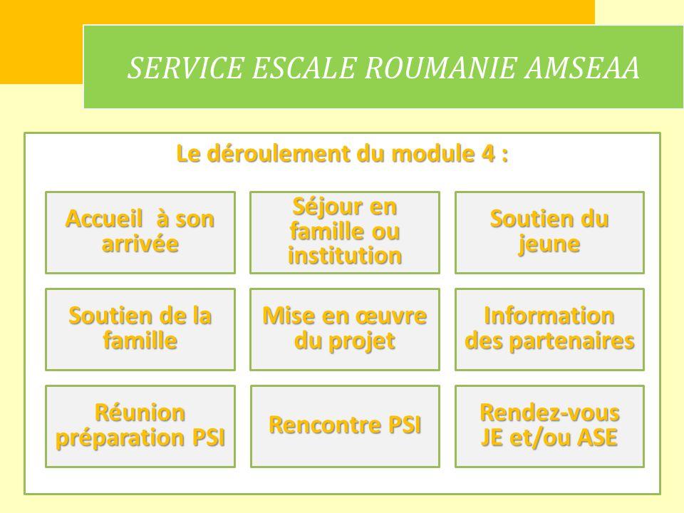 Le déroulement du module 4 : SERVICE ESCALE ROUMANIE AMSEAA Accueil à son arrivée Information des partenaires Mise en œuvre du projet Rendez-vous JE e