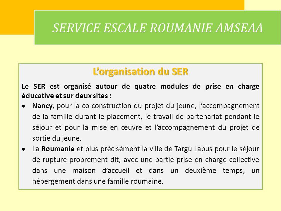 SERVICE ESCALE ROUMANIE AMSEAA Lorganisation du SER Le SER est organisé autour de quatre modules de prise en charge éducative et sur deux sites : Nanc