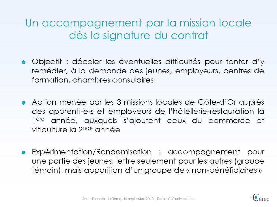 Un accompagnement par la mission locale dès la signature du contrat Objectif : déceler les éventuelles difficultés pour tenter dy remédier, à la deman