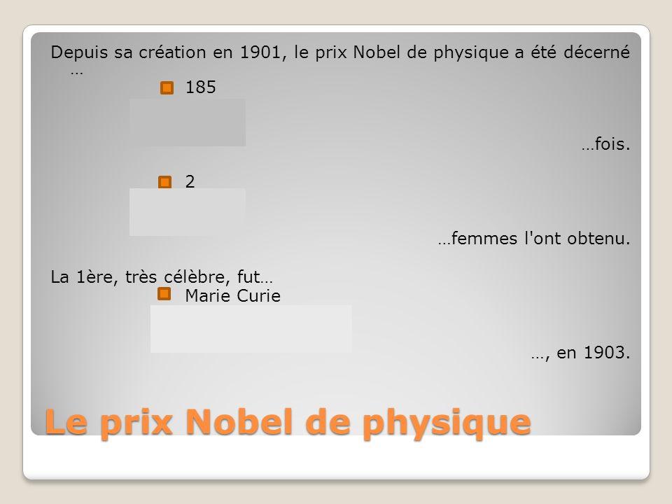 Le prix Nobel de physique Depuis sa création en 1901, le prix Nobel de physique a été décerné … 185 450 28 …fois.