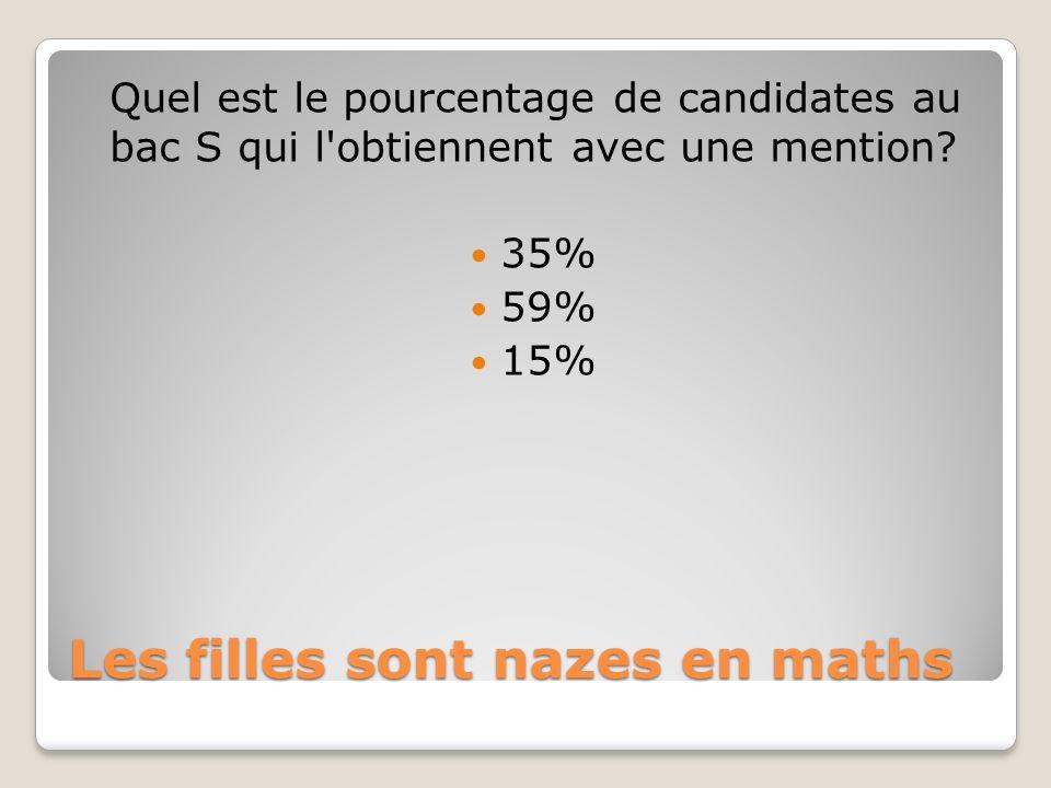 Les filles sont nazes en maths Quel est le pourcentage de candidates au bac S qui l obtiennent avec une mention.